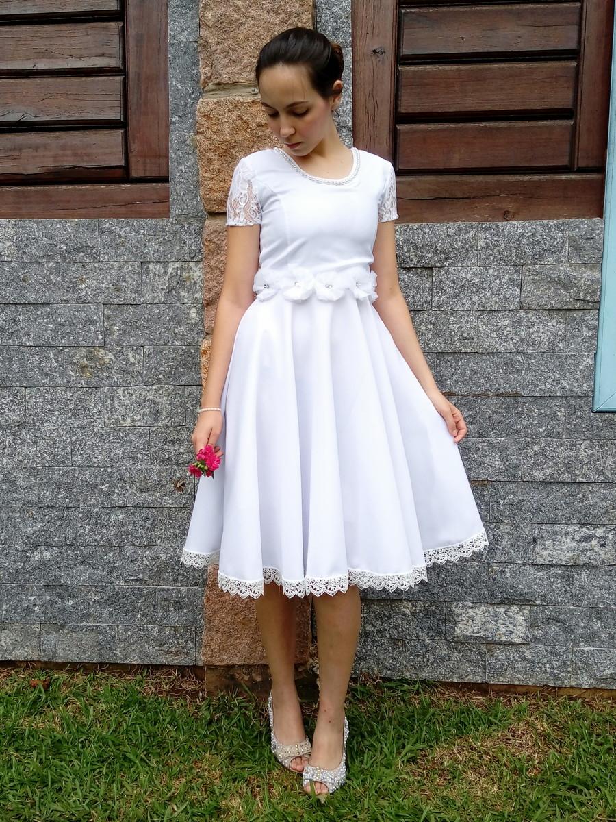f21bed380 Vestido de Noiva Midi Godê Duplo Casamento Civil Cartório no Elo7 ...