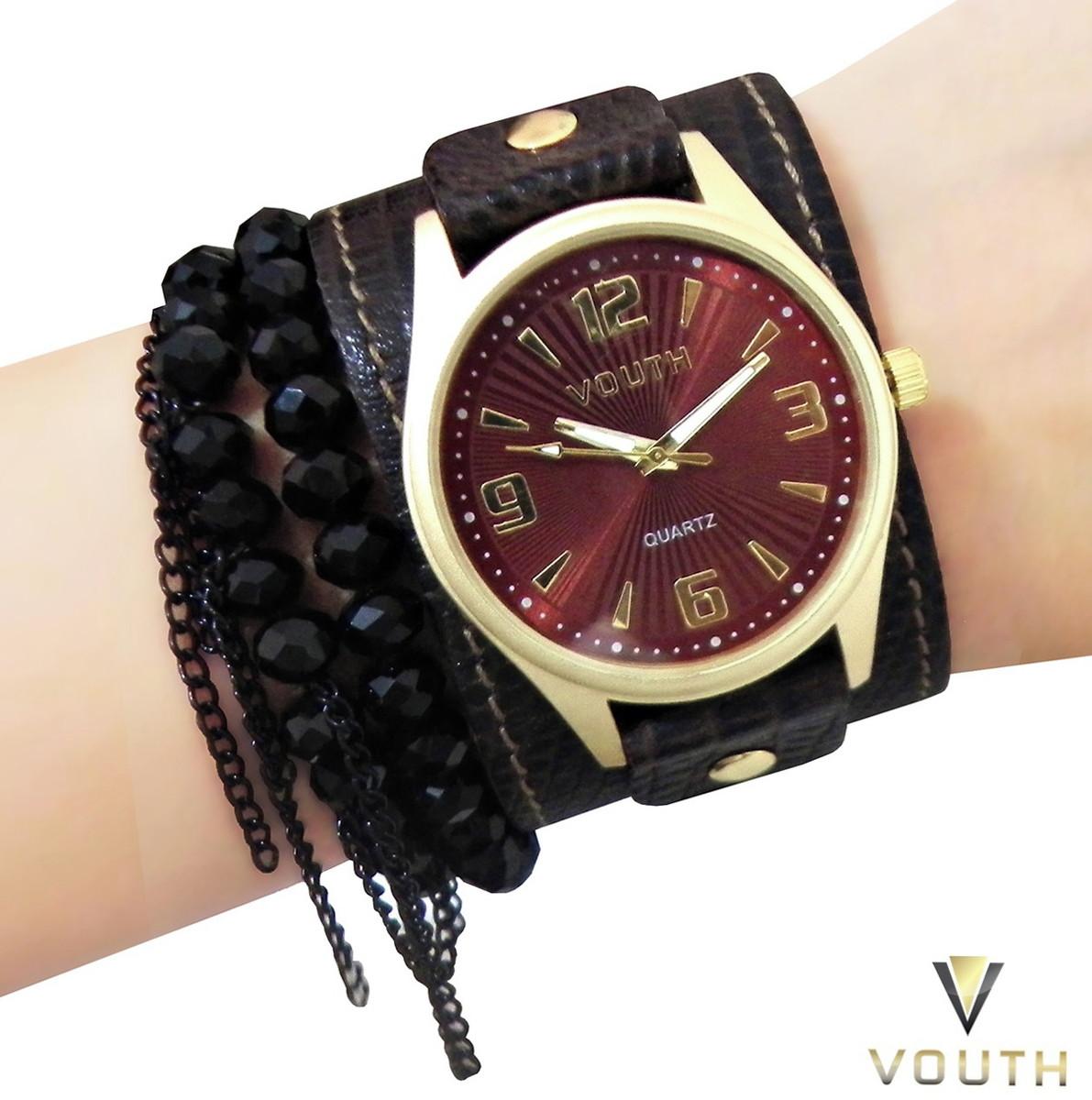 21c5a1d80 Relógio Feminino Com Bracelete de Couro E Pulseiras no Elo7 ...