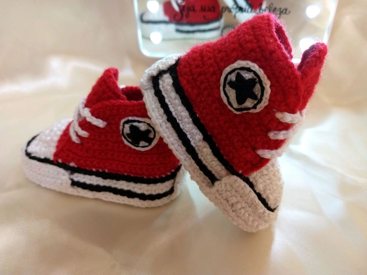 b2cb09ab9a0 Tênis ALL Star Crochê para Bebê (Vermelho) no Elo7