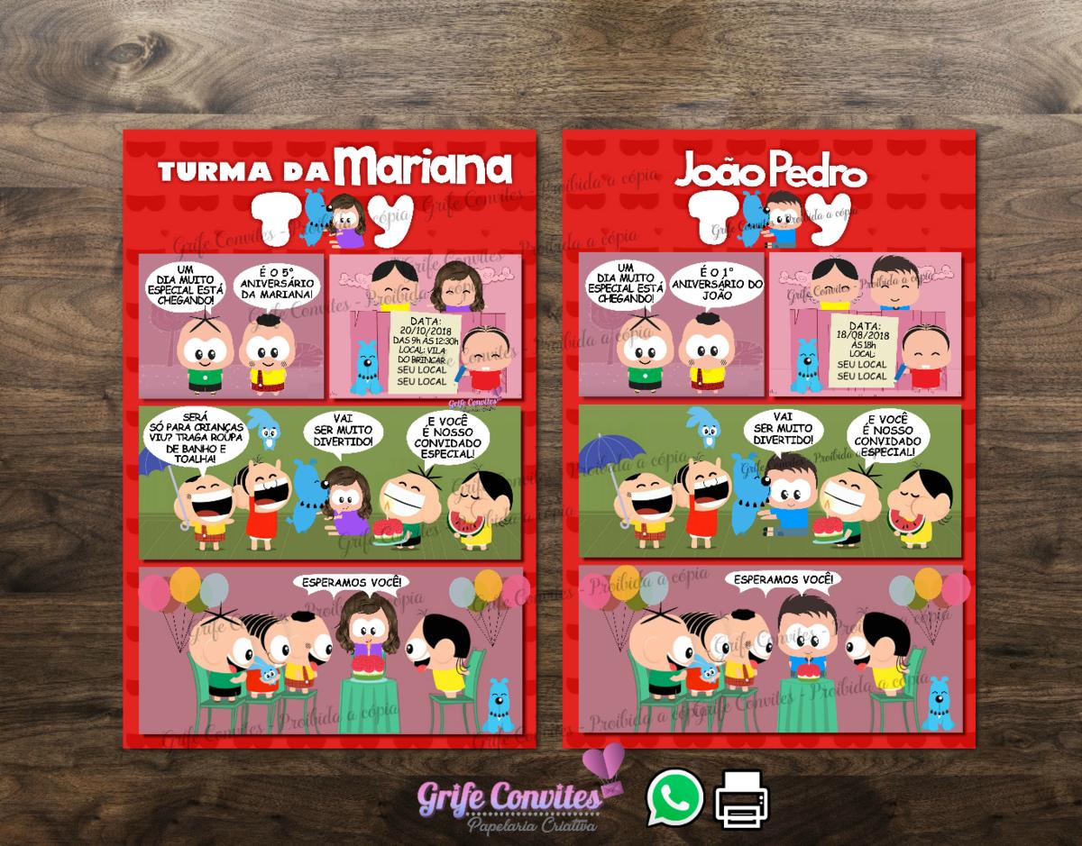 Convite Digital Quadrinhos Monica Toy Com Desenho Da Crianca No