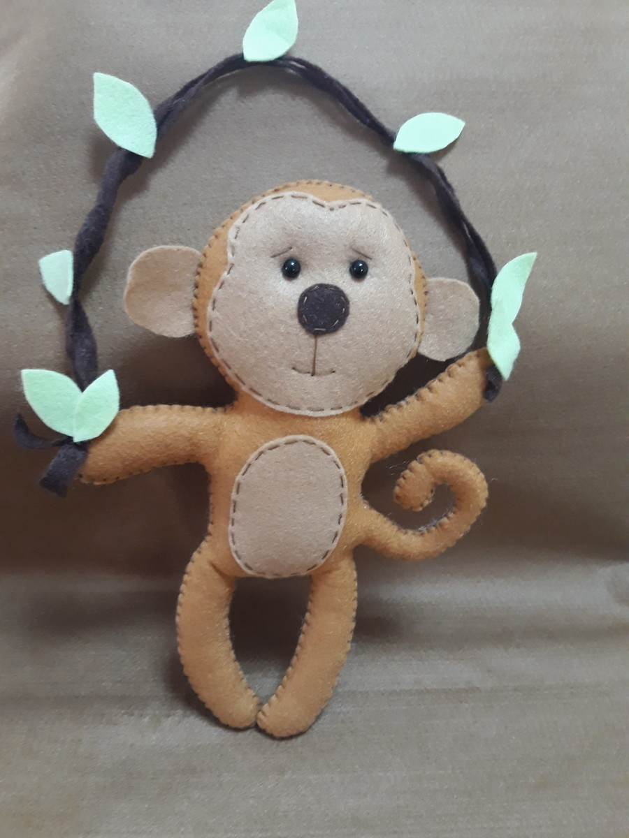 Macaco em feltro no Elo7 | Shica Artes em Feltro (EC36E9)