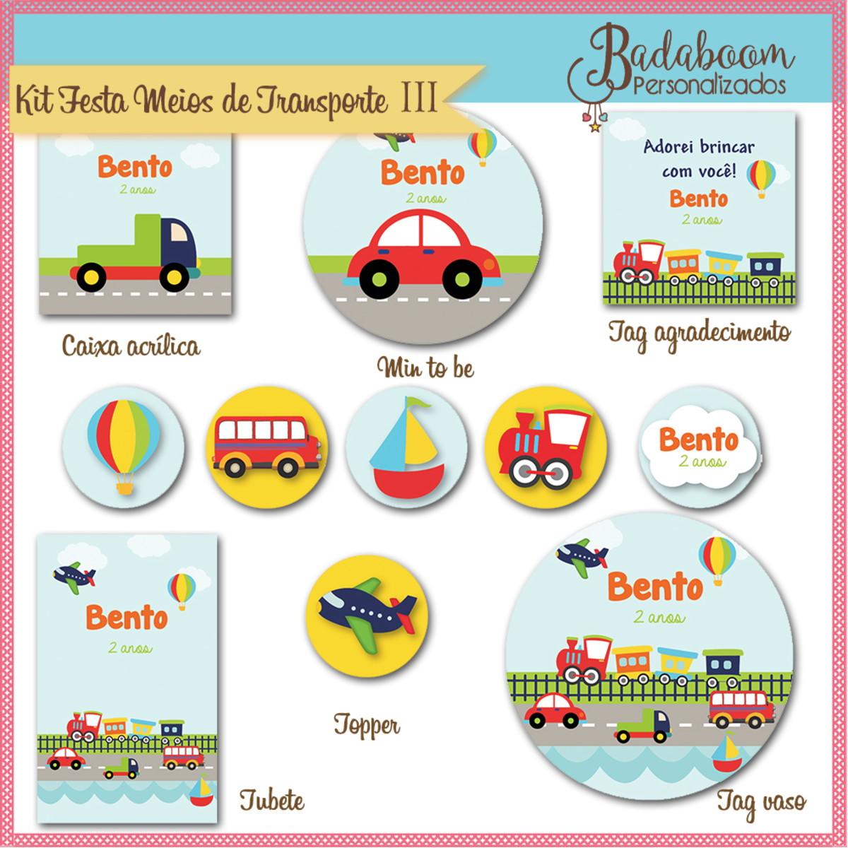 Kit Festa Infantil Meios De Transporte C 547 No Elo7 Badaboom