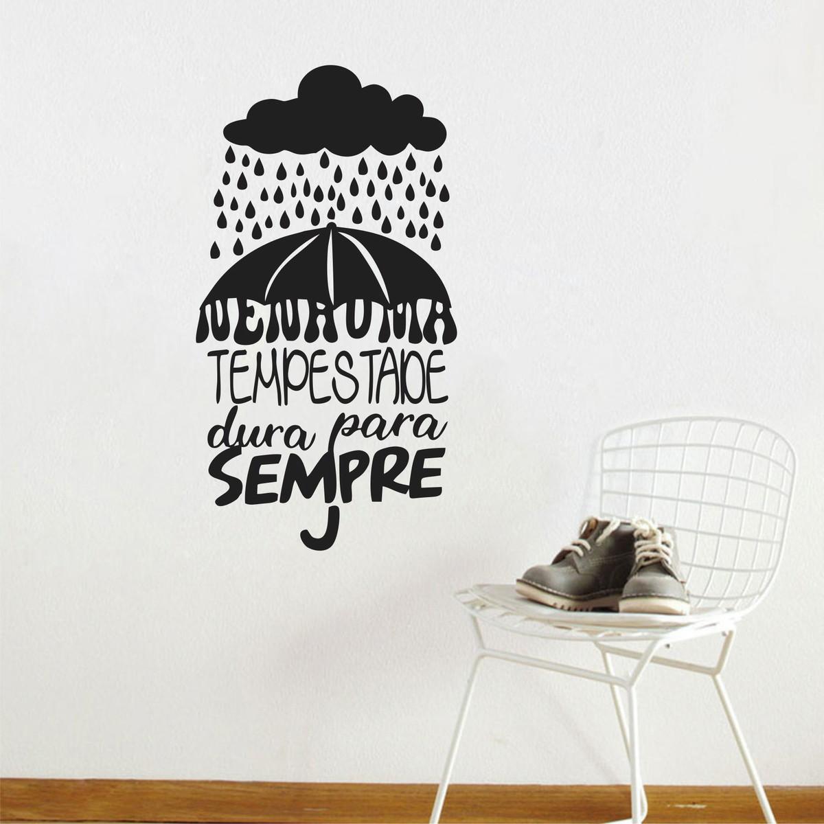 Adesivo De Parede Frase Nenhuma Tempestade Dura Para Sempre