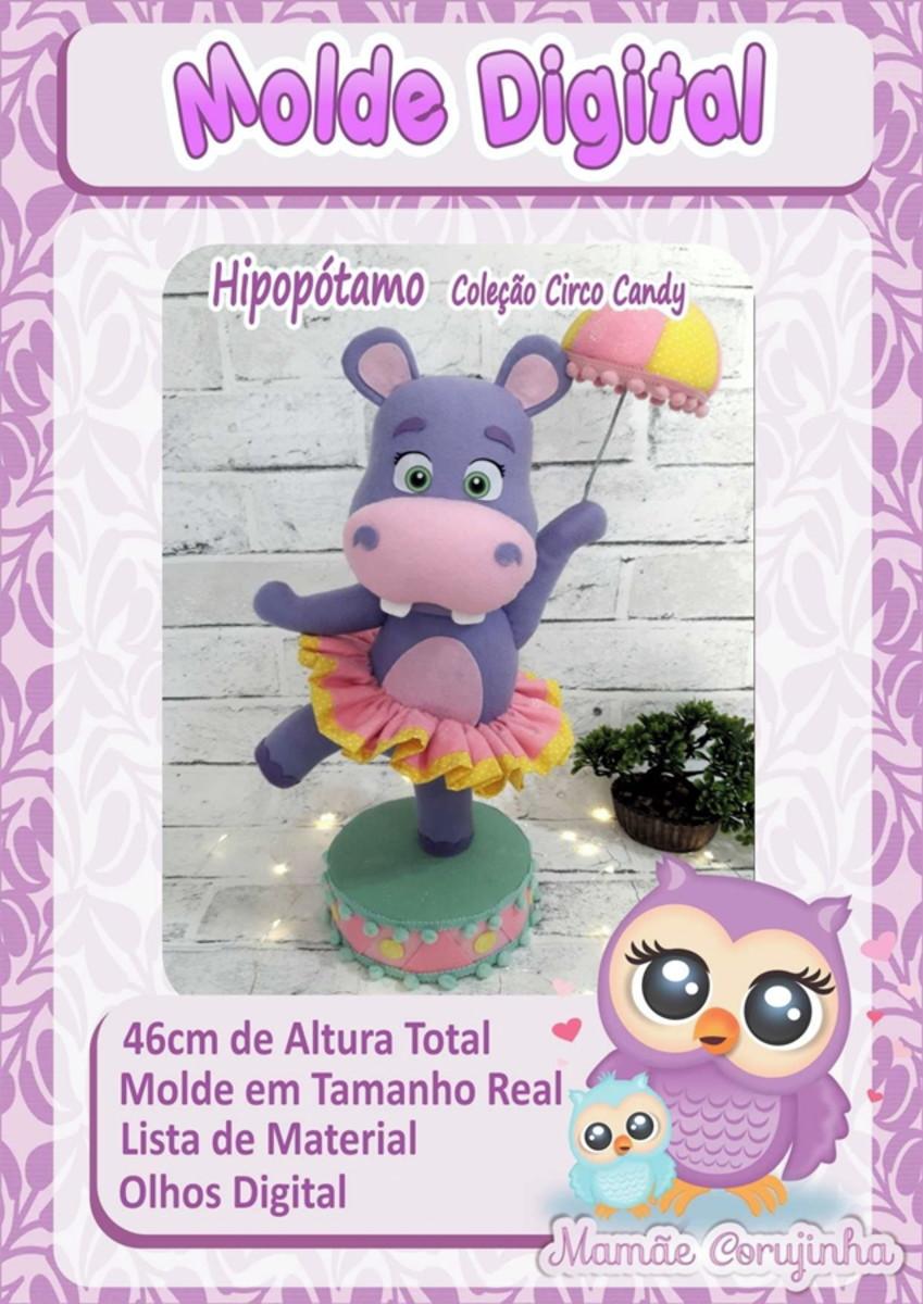 Molde Do Hipopotamo Em Feltro Da Colecao Circo Candy No Elo7