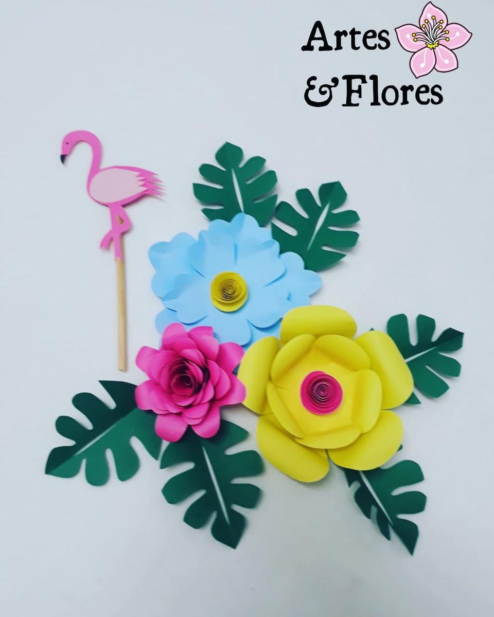 Mini Topo De Bolo Com Flores De Papel