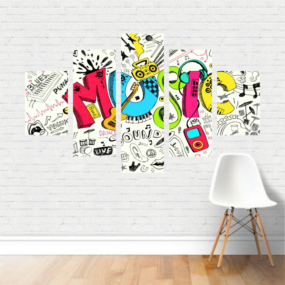 Quadro Canvas Música Frase Music Colorido Colagem Mu05c5p