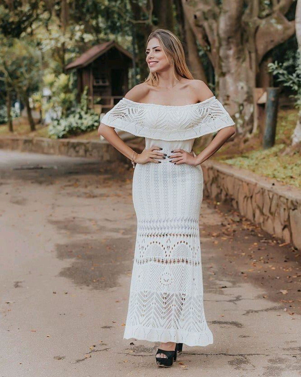 Vestido Tricot Longo Ciganinha Branco Ensaios Fotográficos C