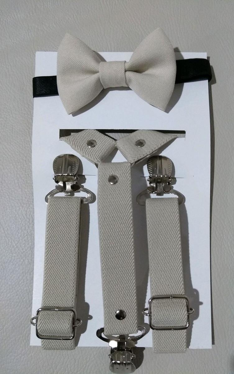 d1b6b290e8 Kit suspensório e gravata borboleta bege infantil no Elo7
