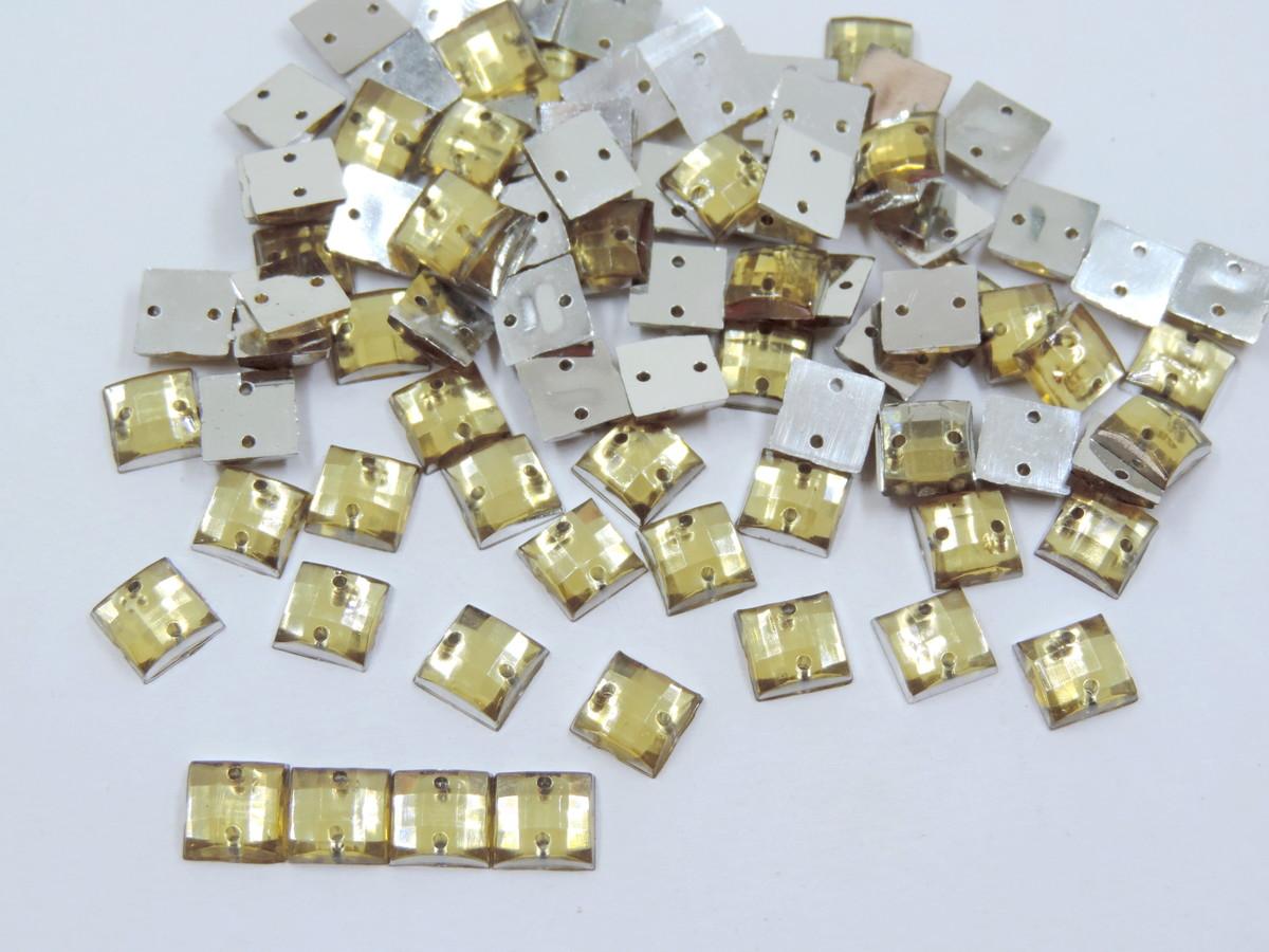 116ff3632 Chaton Quadrado Dourado com Furo 8mm 200 unidades no Elo7