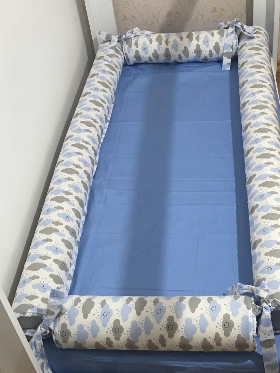 ed4ceb6fc7 Kit rolos para mini cama - TEMA NUVENS no Elo7