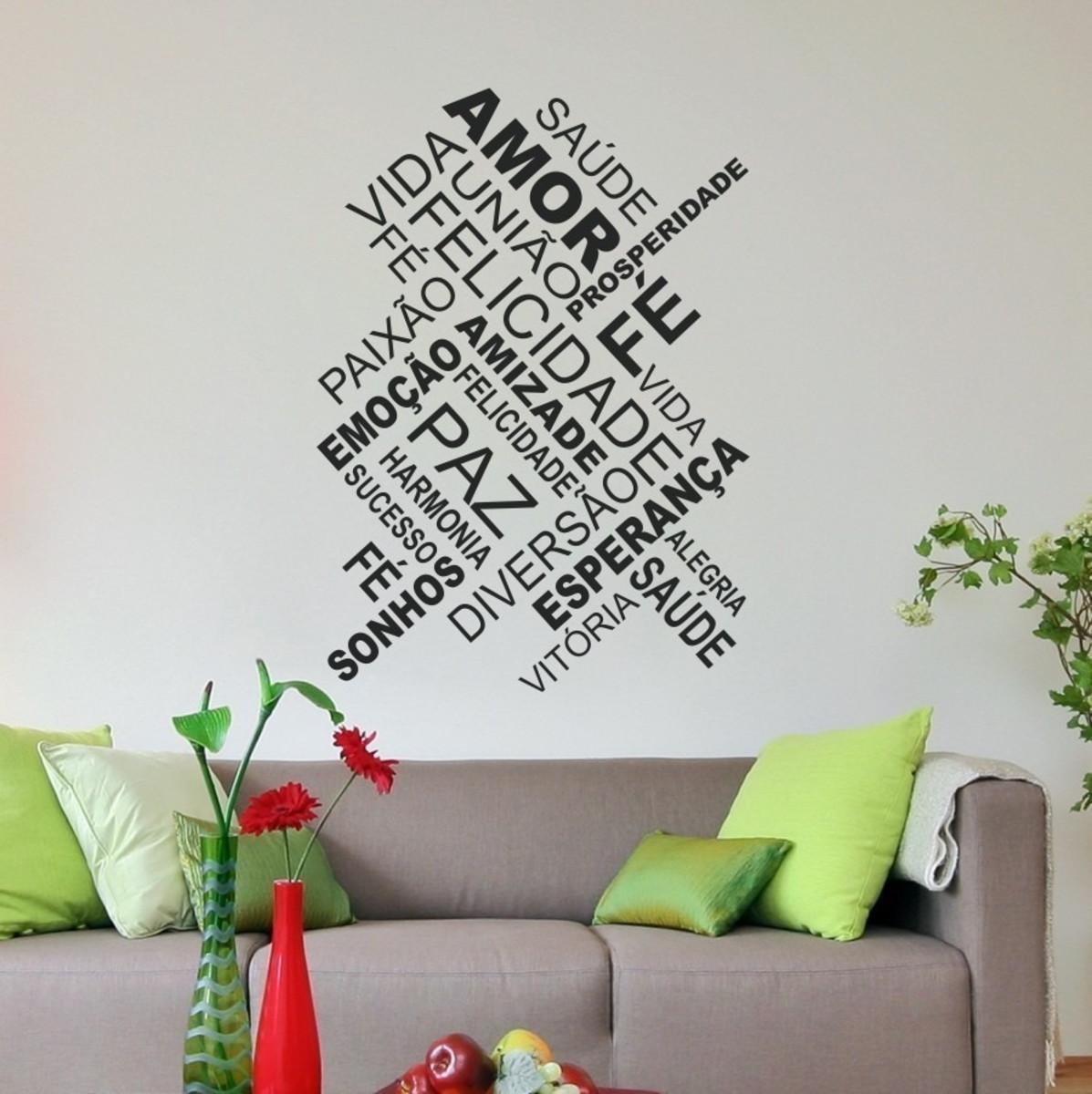 Adesivo Decorativo De Parede Sala Quarto Frases Amor Fé Paz