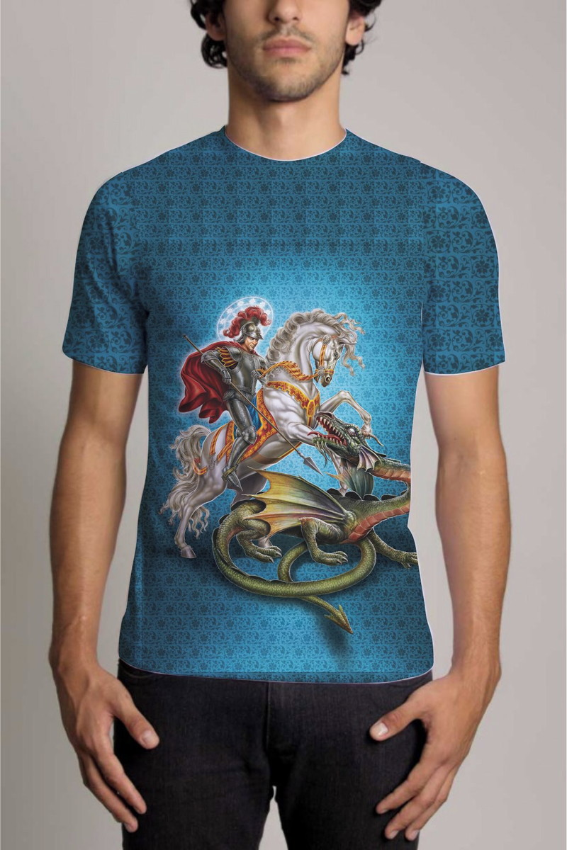 a9d261d31 Camisa Personalizada São Jorge Guerreiro Azul no Elo7