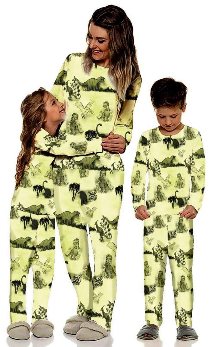 cce5be7e4ea540 Pijama Inverno Mãe e Filha/o Dinossauros