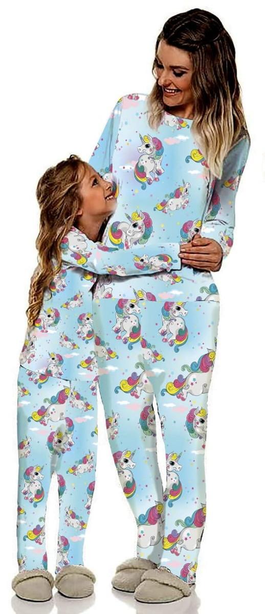 bd02e035d44d33 Pijama Inverno Mãe e Filha Unicórnio