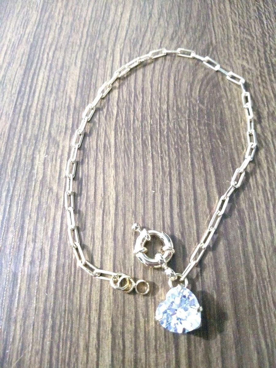 59e421a4e7e Pulseira Elo Cartier fecho Bóia coração zircônia banho ouro no Elo7 ...