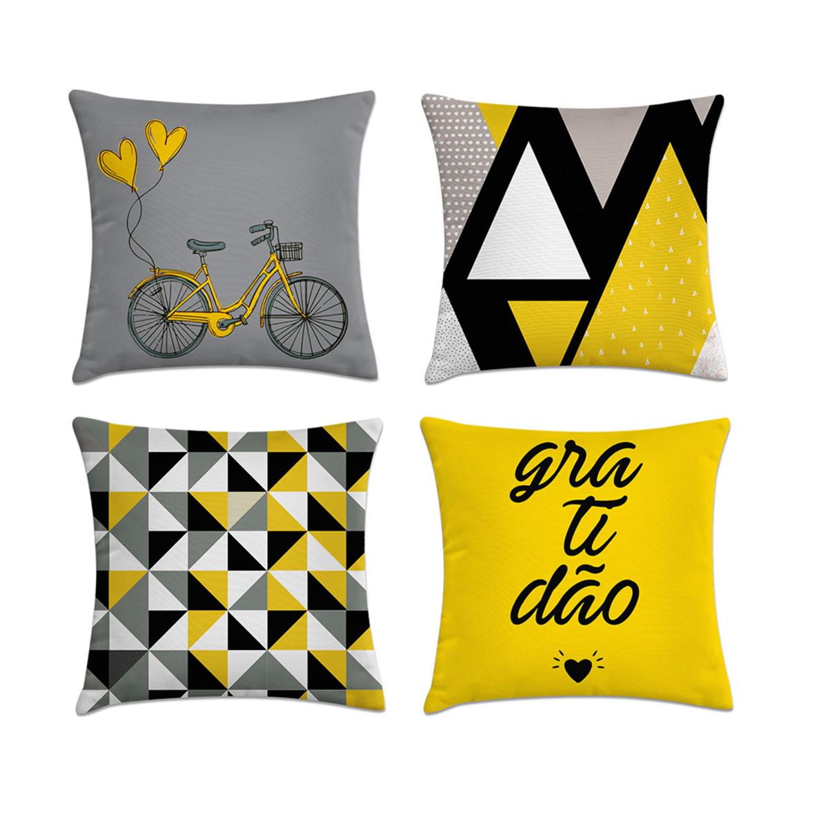 1faa16c888eafa Kit 4 capas almofadas amarelo e cinza