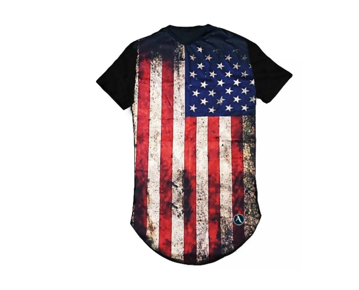 856dfddd41 Camiseta Longline Estampada Masculina Personalizada E.U.A no Elo7 ...