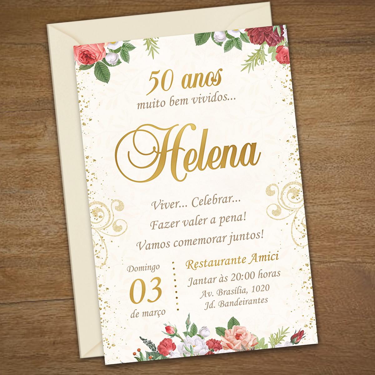 Convite Digital 30 40 50 Anos Adulto Floral Chic No Elo7 Ana