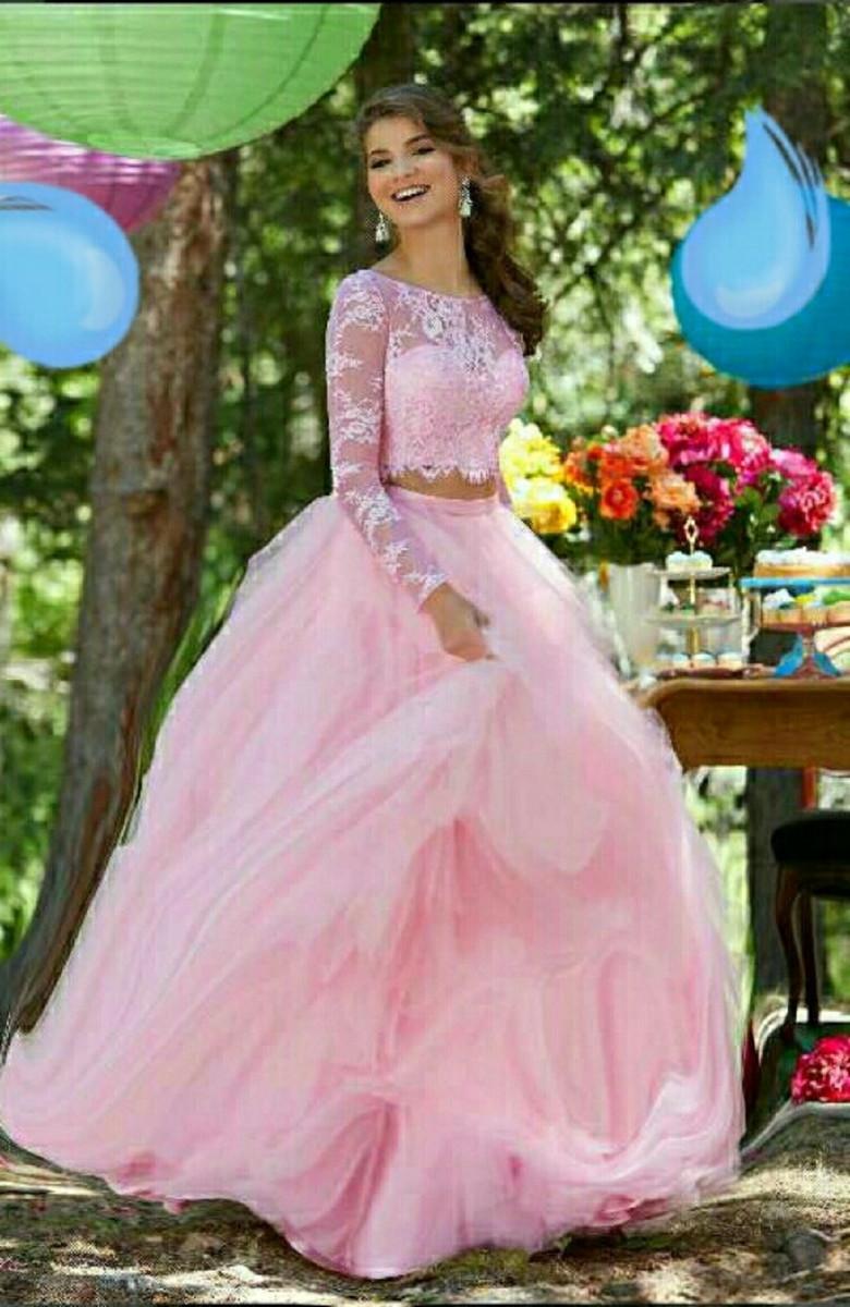 f104ec89d Vestido de 15 anos, debutante, festa, rosa bebê, manga longa no Elo7 ...