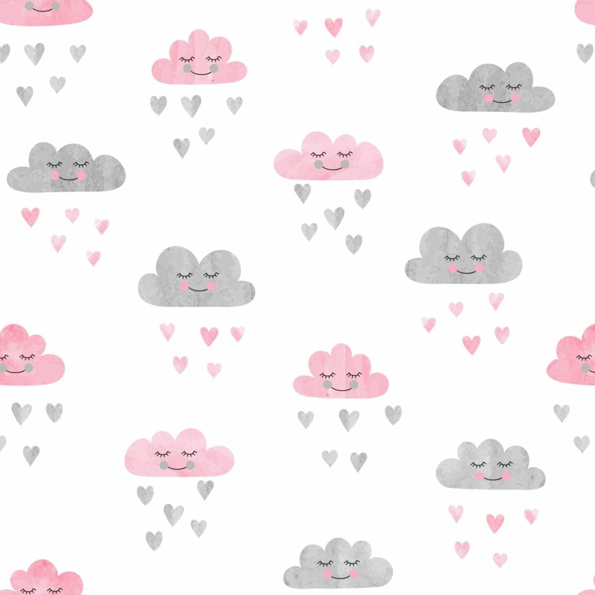 Papel De Parede Chuva De Amor Nuvem Quarto Menina 10m Ppi249