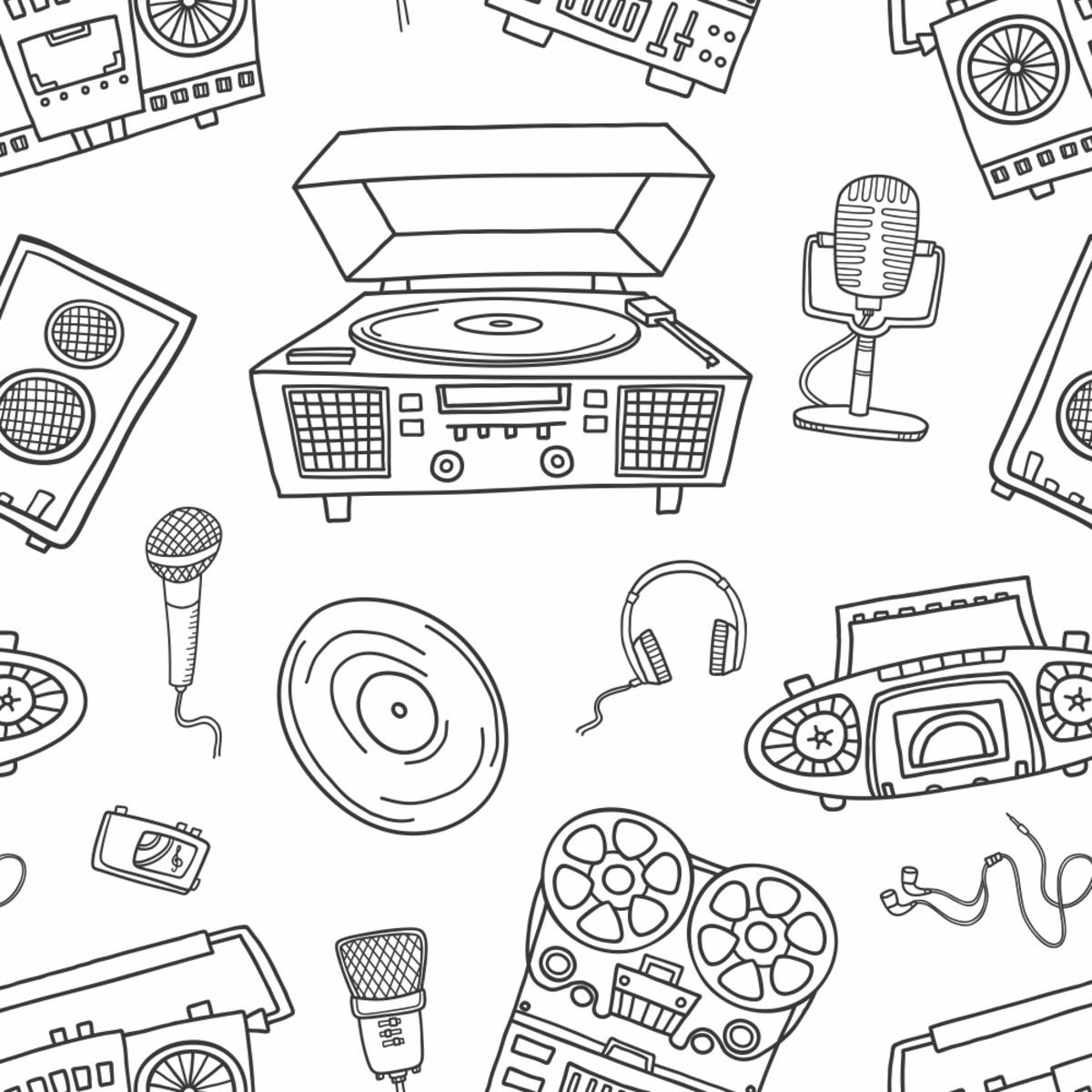 Papel De Parede Desenho Musica Microfone Estudio 10m Ppo011 No