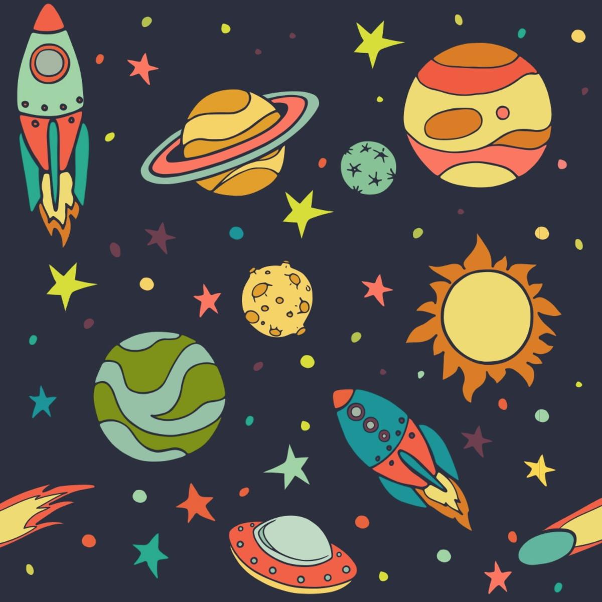Papel Parede Foguete Planetas Espaço Quarto 3m Ppi284