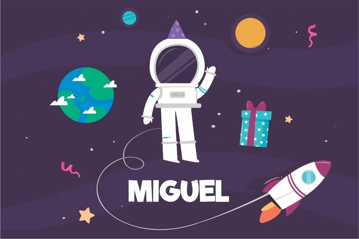 Painel Lona Astronauta Galaxia Desenho Festa Infantil Nome No