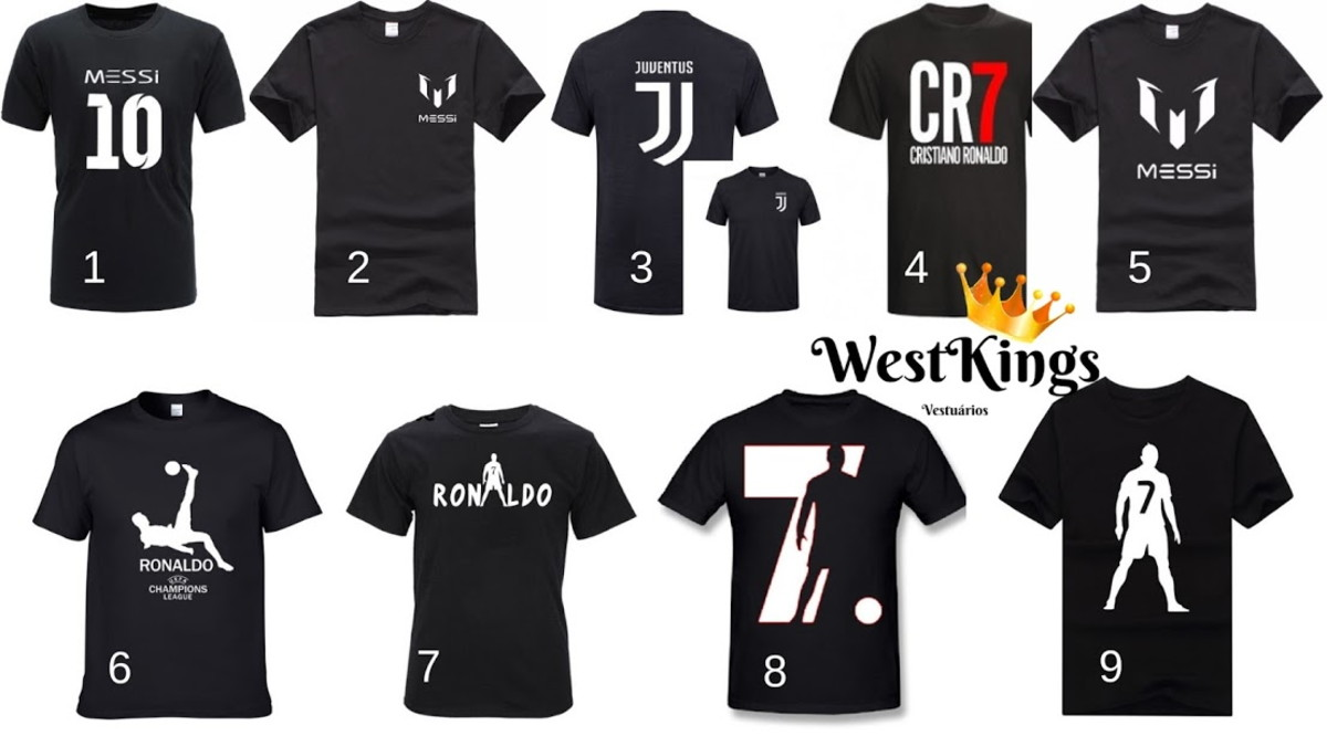 466e490fffcf 4 Camisetas CR7 Cristiano Ronaldo Champions no Elo7 | West Kings ...