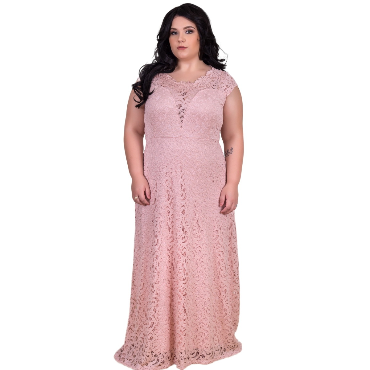 bb62f5b558 Zoom · Vestido longo Renda Plus Size