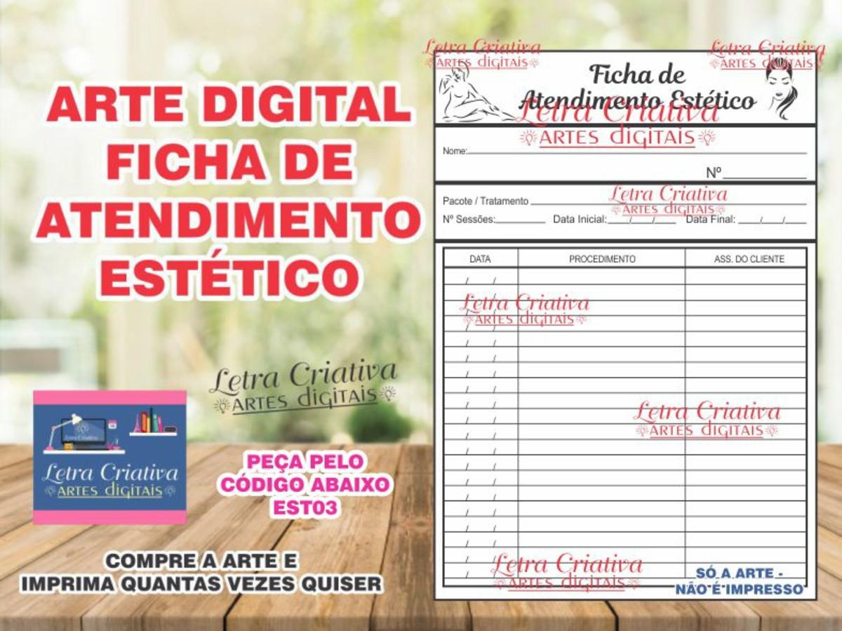 Ficha Atendimento Estetico Estetica Arte Digital Imprimir No Elo7