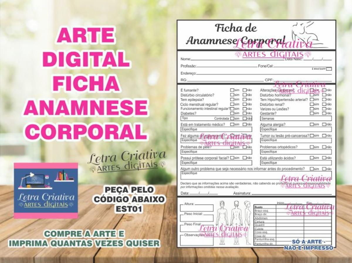 Ficha Cliente Anamnese Corporal Estetica Arte Imprimir No Elo7