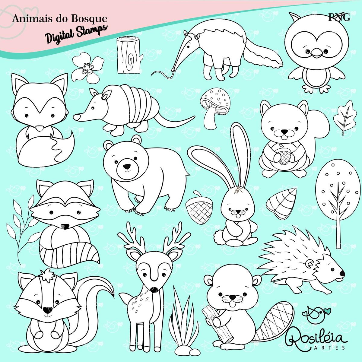 Digital Stamp Animais Do Bosque Colorir
