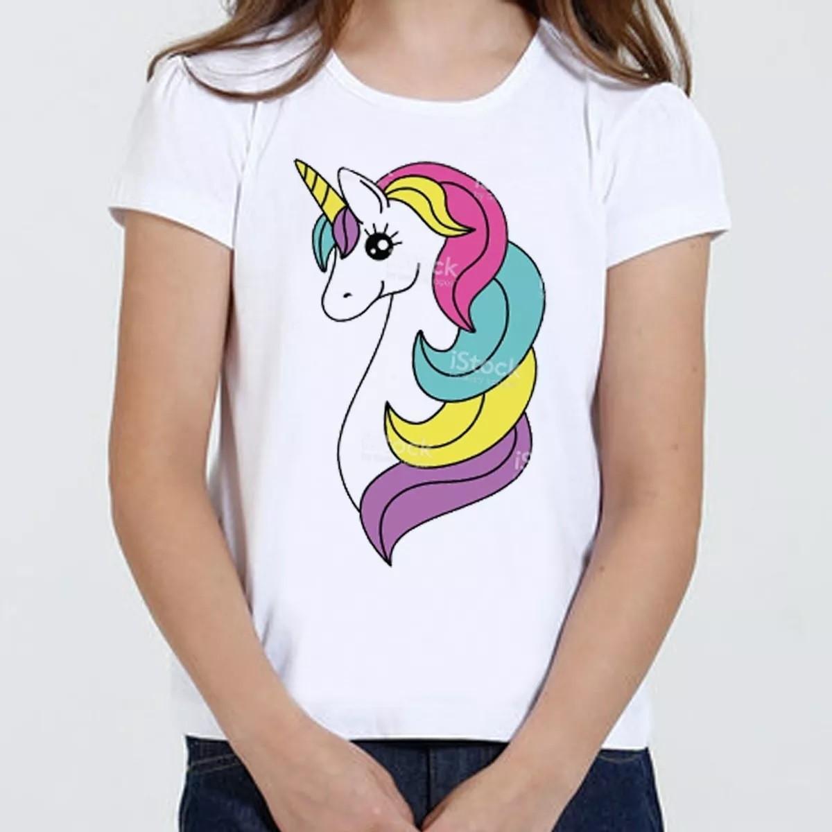 Camiseta Camisa Infantil Feminina Unicornio Kawaii Tumblr No