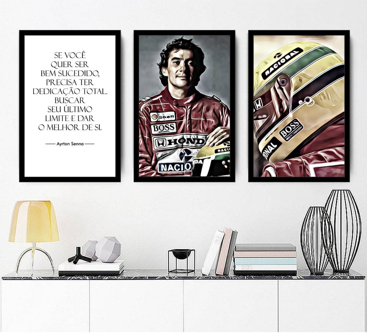 Kit 3 Quadros Ayrton Senna Formula 1 Frases Motivação F1