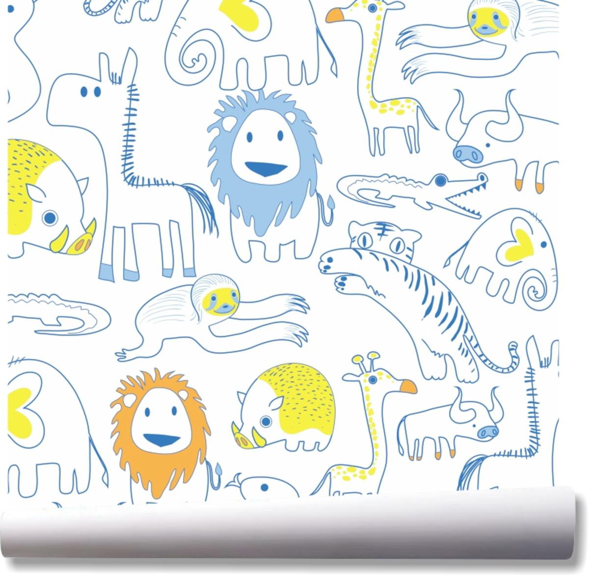 Papel De Parede Crianca Leao Animais Safari Zoo Desenho A04 No