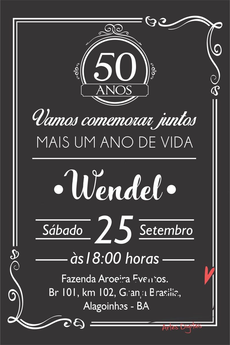Arte Convite Digital Aniversario Masculino No Elo7 Madi F58573