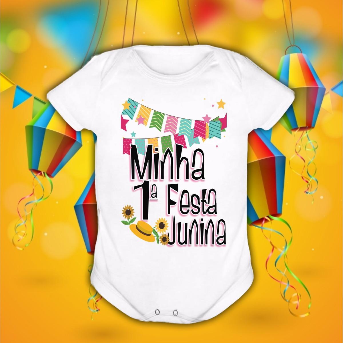 Roupa De Bebê Frases Minha 1º Festa Junina Menina Lançamento