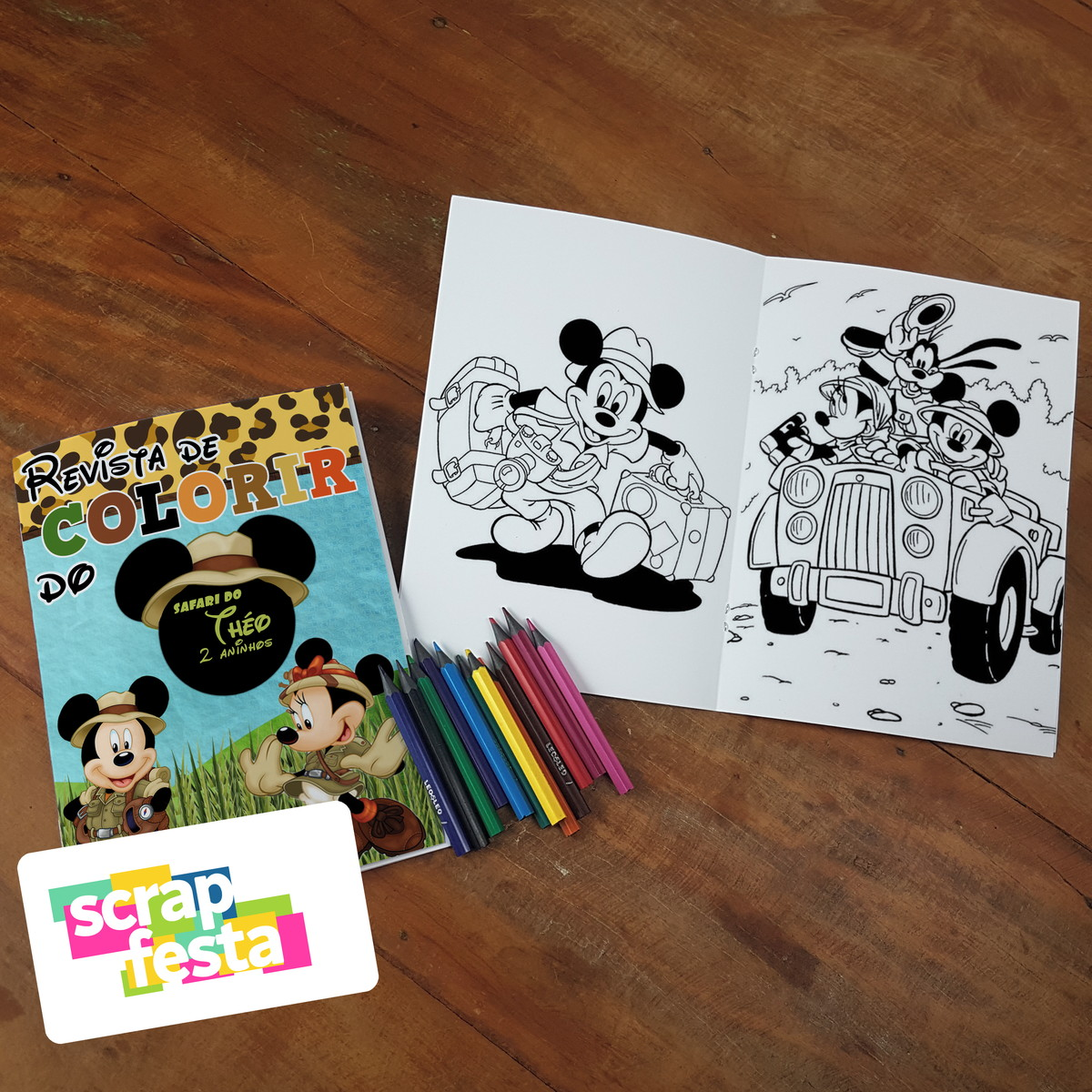 Revista Colorir Lapis De Cor Festa Mickey Safari No Elo7 Scrap