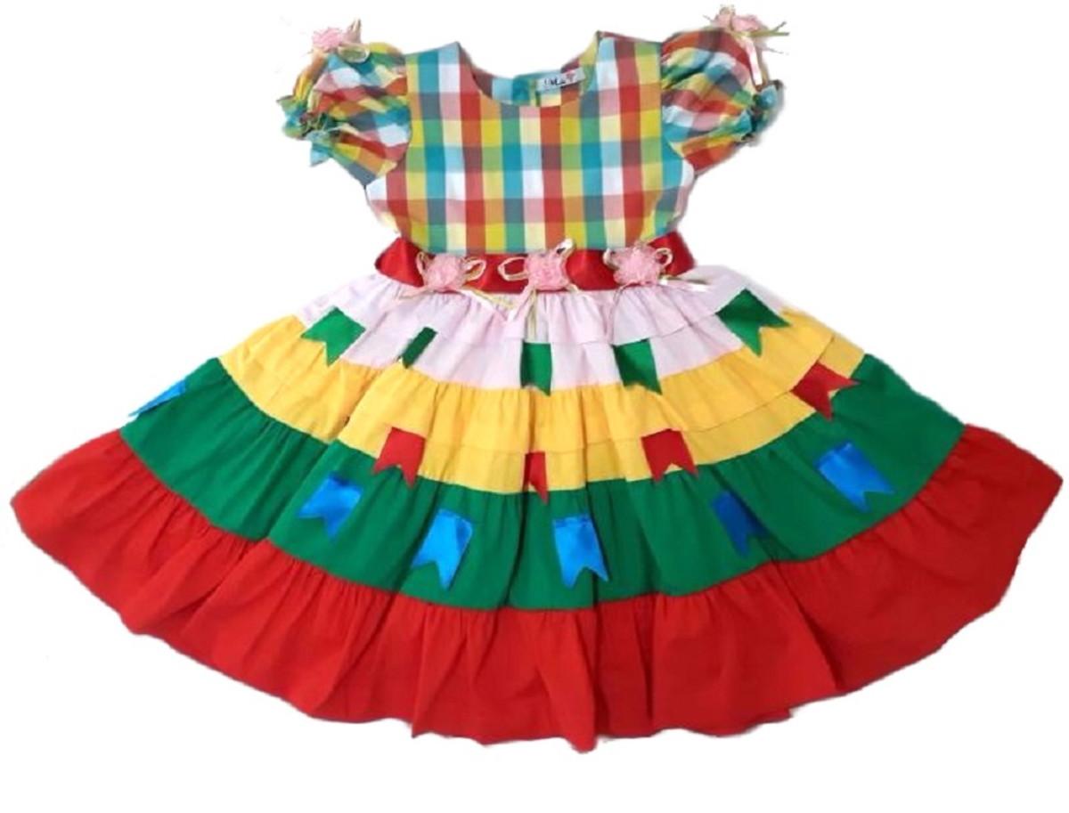 Vestido Festa Junina Infantil 1 2 4 6 Anos Xadrez