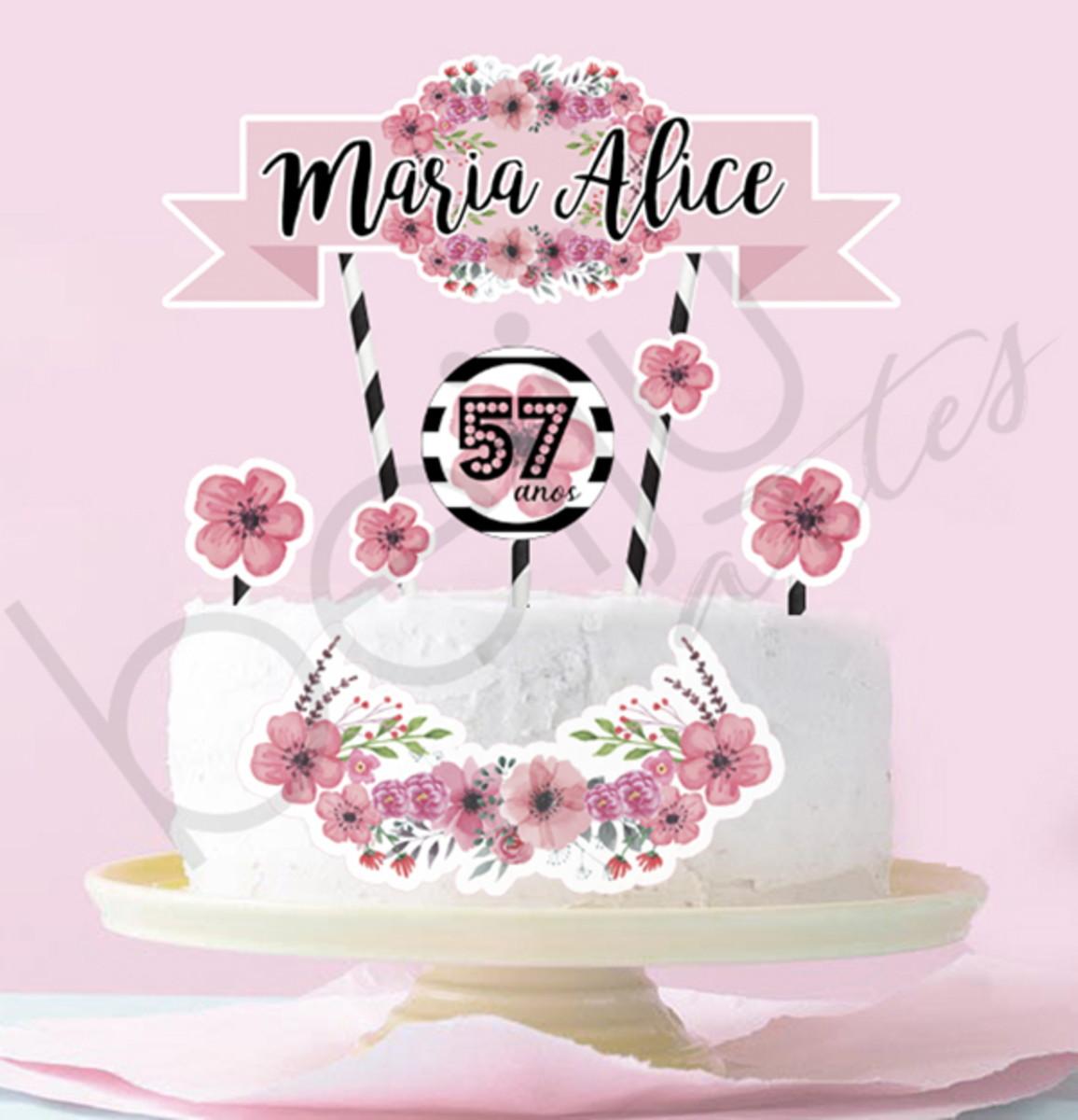 Arte Digital Topo De Bolo Flores E Listras