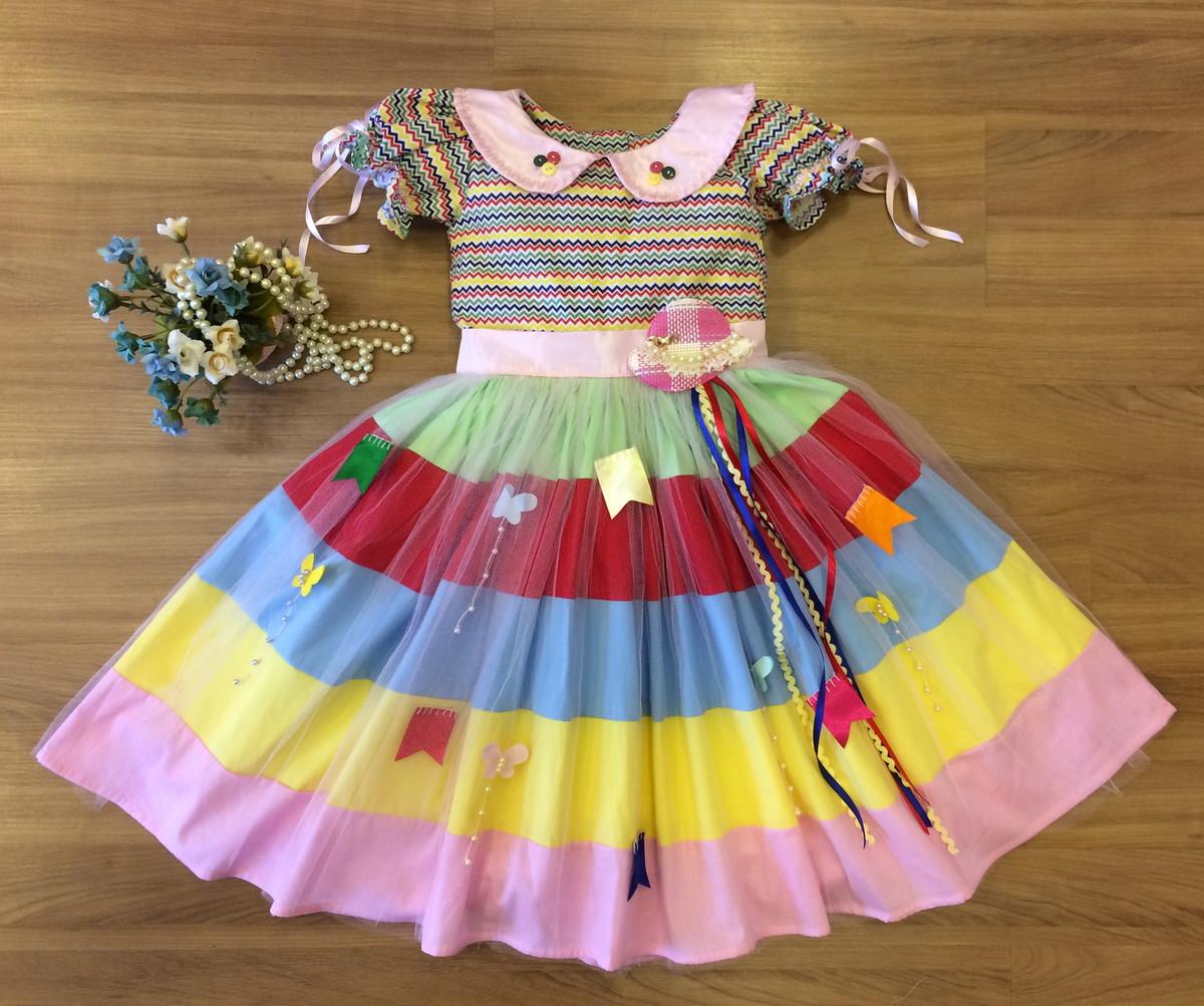 Vestido Festa Junina Colorido Infantil
