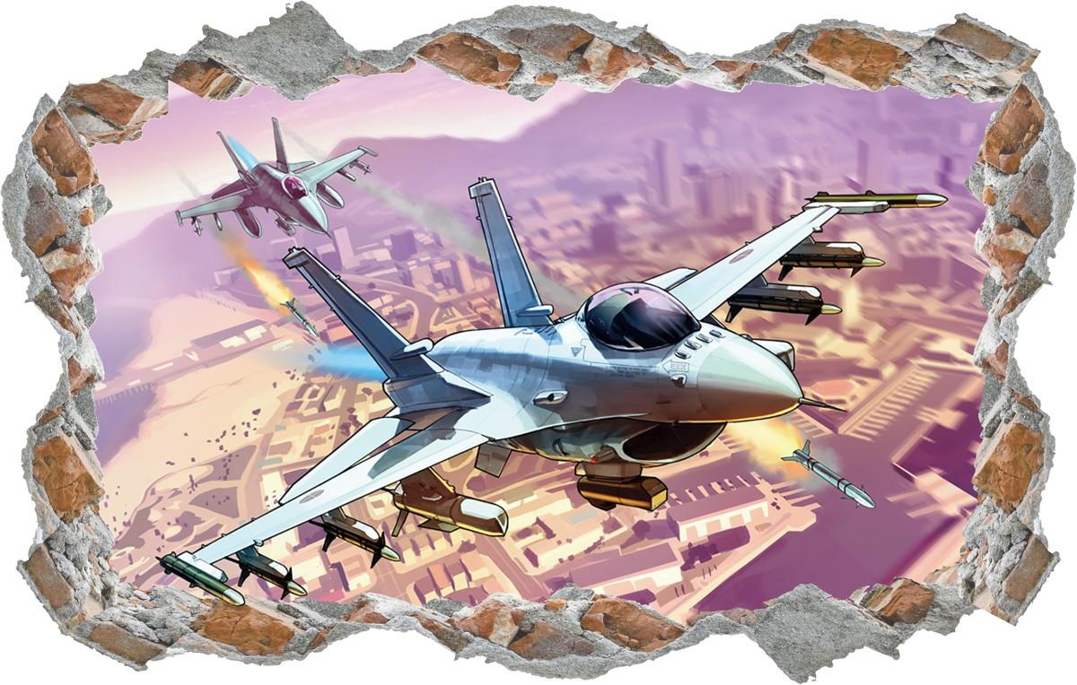 Adesivo Buraco Aviao Guerra Desenho Parede Quarto Infantil No Elo7
