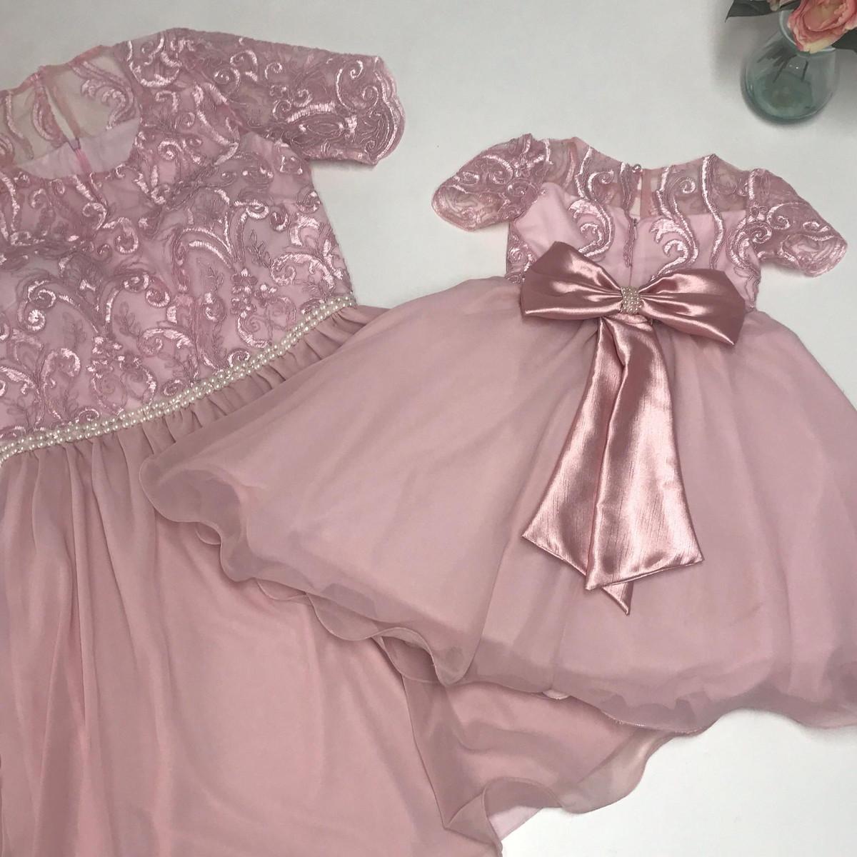 Vestido Tal Mãe Tal Filha Rosé Tam G Tam 1 Ano