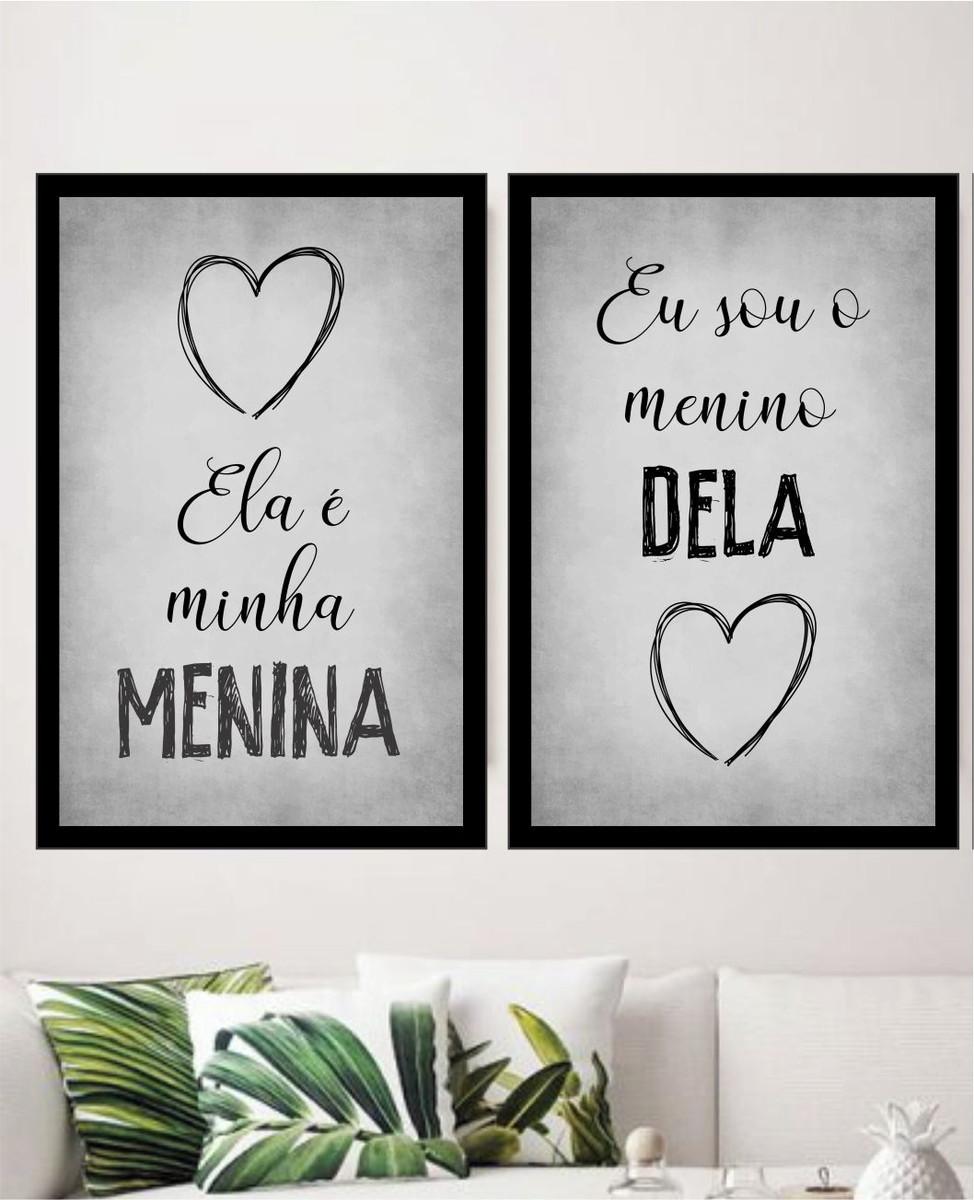 Quadro Decorativo Frases Casal Amor Moldura 2 Peças