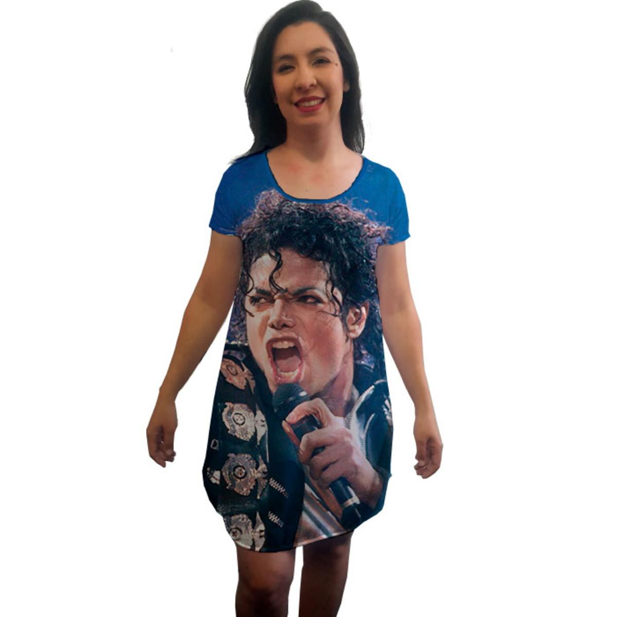Vestido Camisetão Michael Jackson Estampa Total