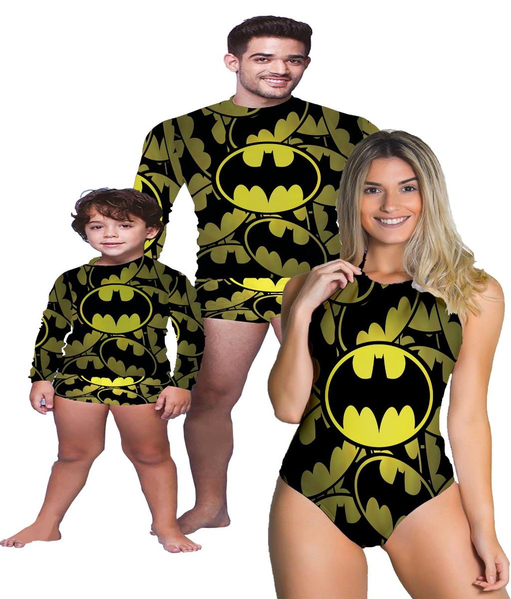 a83ef7549d7e1b Kit Familia Moda Praia - Batman - 5 peças