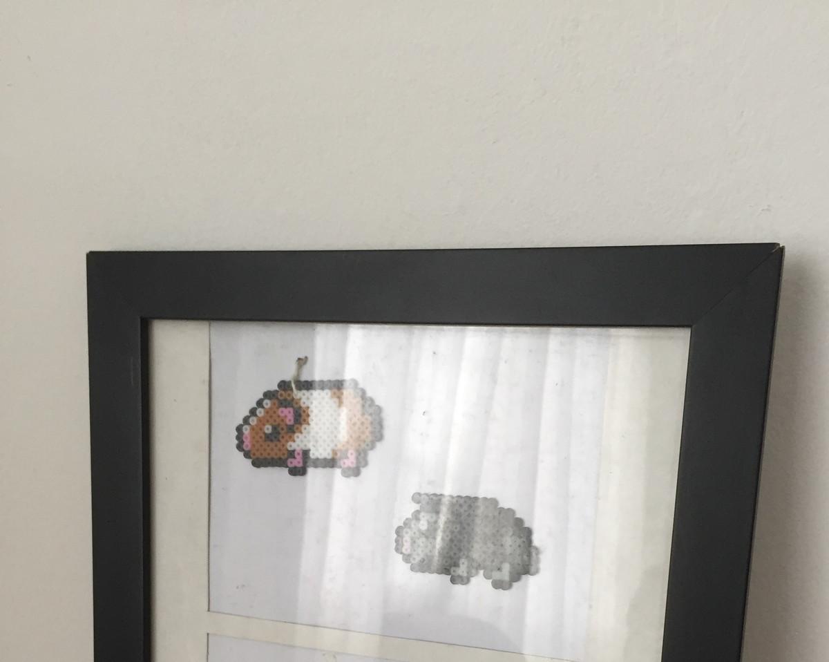 Quadro Com Desenhos Em 3d De Pixel Art Porquinhos Da India No