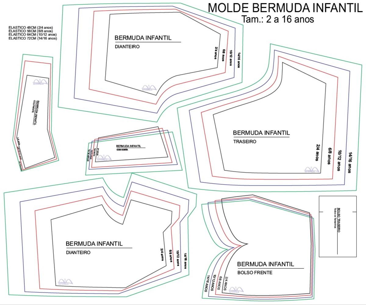Molde Bermuda Infantil Helanca Tam 2 A 16 Anos No Elo7 V M