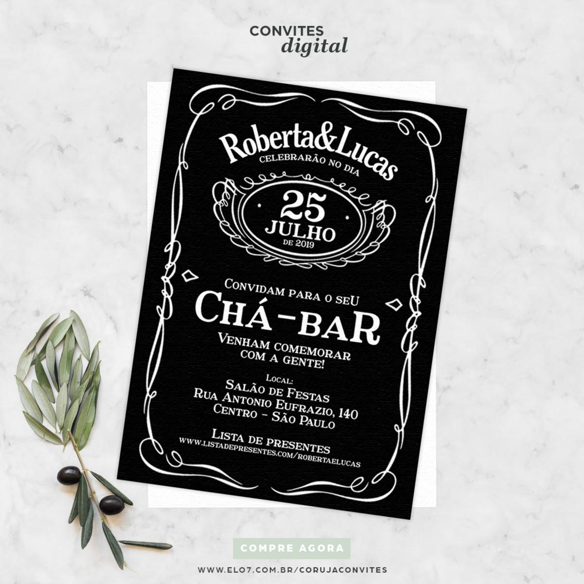 Convite Digital Cha Bar Preto E Branco No Elo7 Coruja Convites