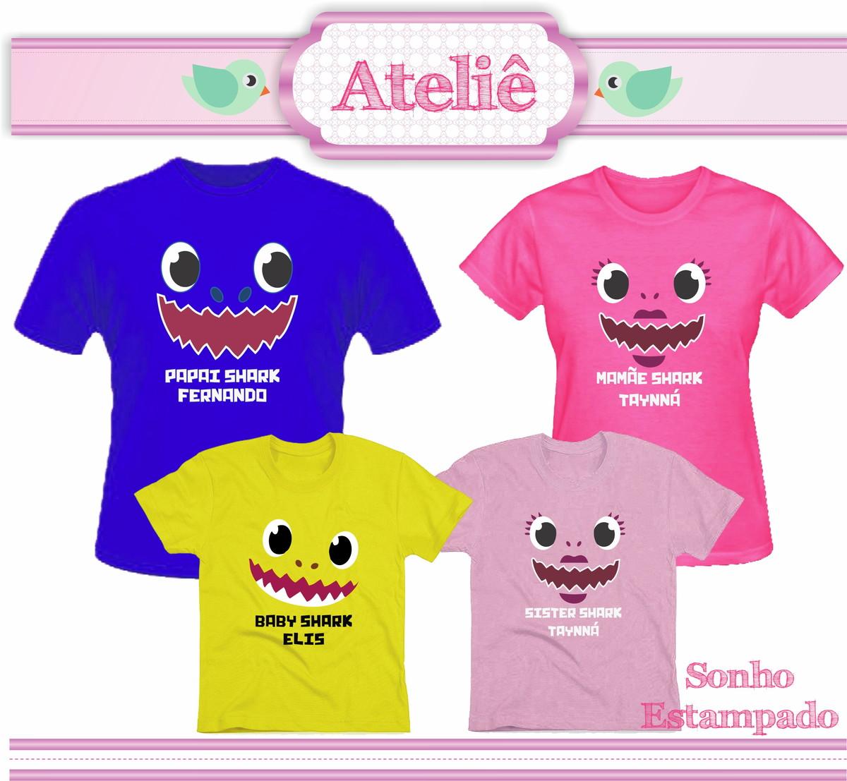 Kit Camiseta Colorida Personalizada Baby Shark 4 peças no ...
